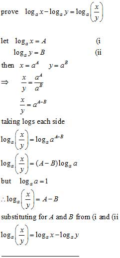 number division and log subtratraction