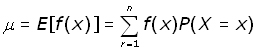 expected value of a function of x